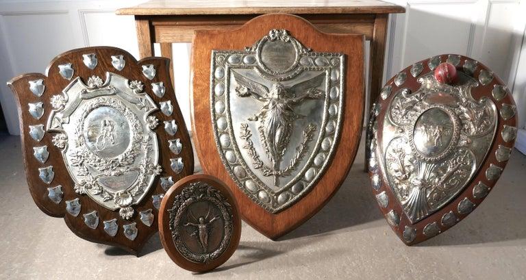 1901 Art Nouveau Sheffield Plate Cricket Trophy Shield by Walker Hall & Sons For Sale 9