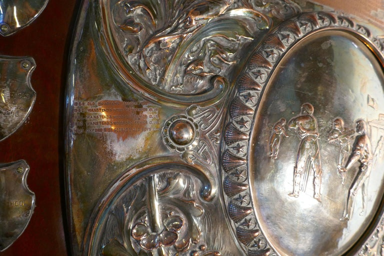1901 Art Nouveau Sheffield Plate Cricket Trophy Shield by Walker Hall & Sons In Good Condition For Sale In Chillerton, Isle of Wight