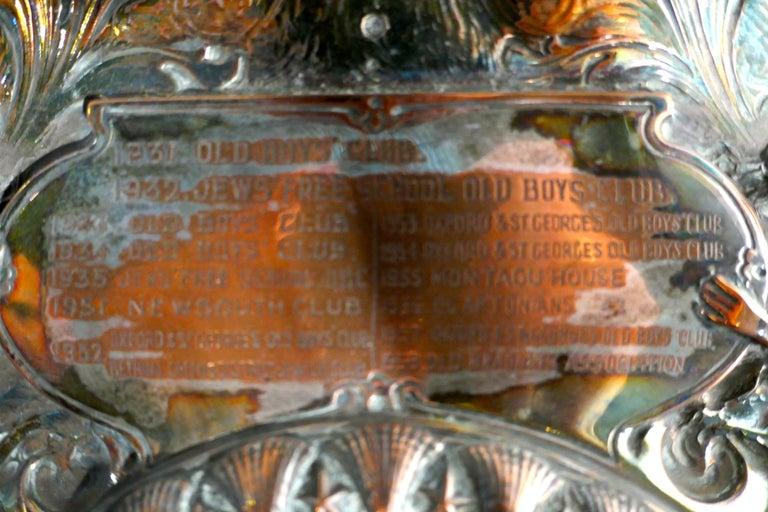 20th Century 1901 Art Nouveau Sheffield Plate Cricket Trophy Shield by Walker Hall & Sons For Sale