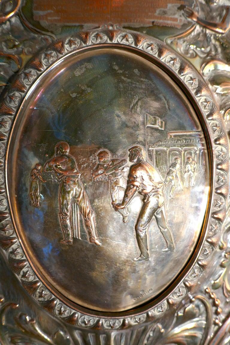 1901 Art Nouveau Sheffield Plate Cricket Trophy Shield by Walker Hall & Sons For Sale 1