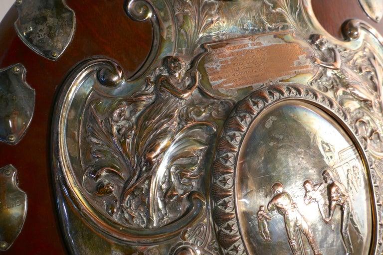 1901 Art Nouveau Sheffield Plate Cricket Trophy Shield by Walker Hall & Sons For Sale 3
