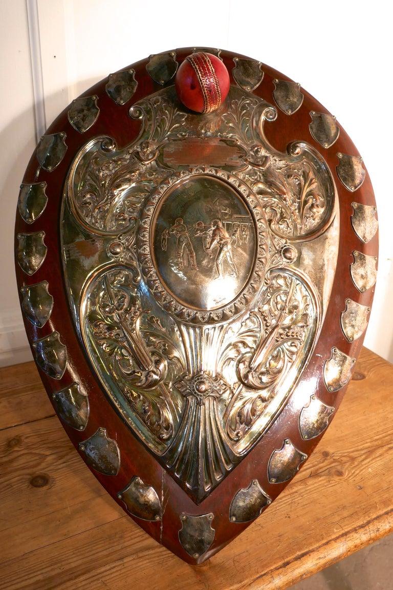 1901 Art Nouveau Sheffield Plate Cricket Trophy Shield by Walker Hall & Sons For Sale 4