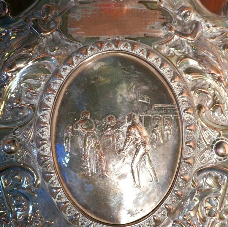 1901 Art Nouveau Sheffield Plate Cricket Trophy Shield by Walker Hall & Sons For Sale 5