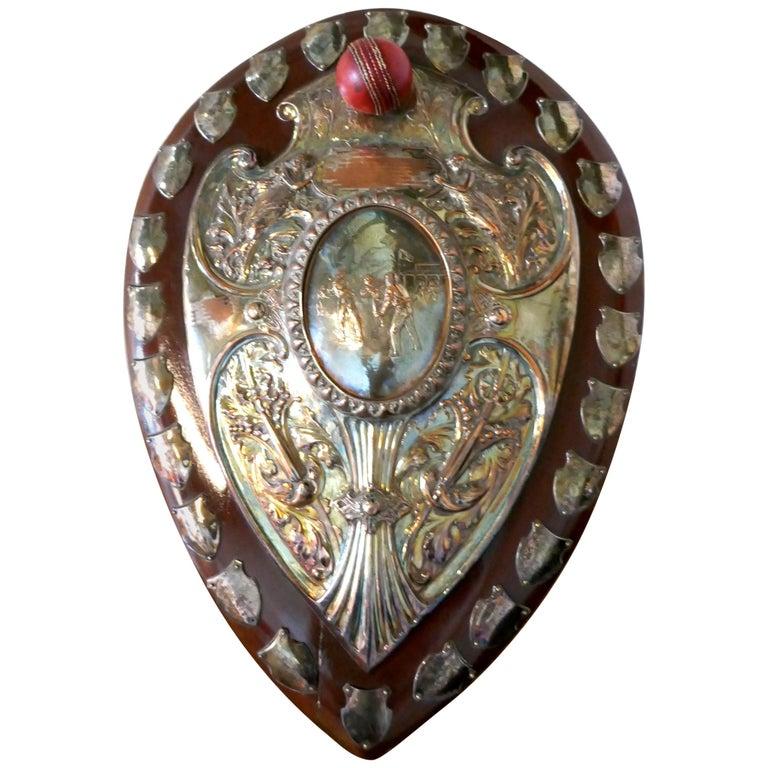 1901 Art Nouveau Sheffield Plate Cricket Trophy Shield by Walker Hall & Sons For Sale