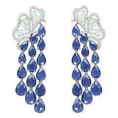 19.01 Carat Blue Sapphire Diamond 18 Karat White Gold Earrings