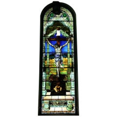 1901 Religious Large Stained Glass Portraying the Crucifixion of Our Lord Jesus