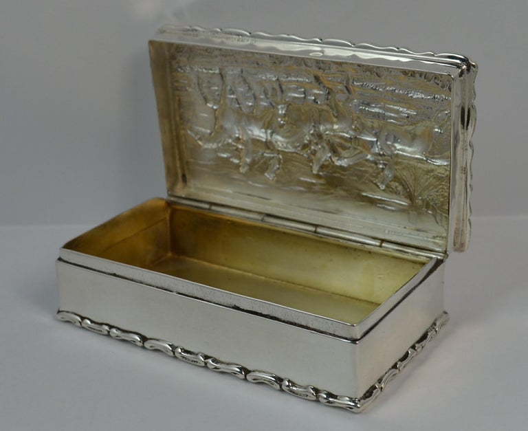 1902 Edwardian English Silver Snuff Box with Hunting Scene For Sale 5