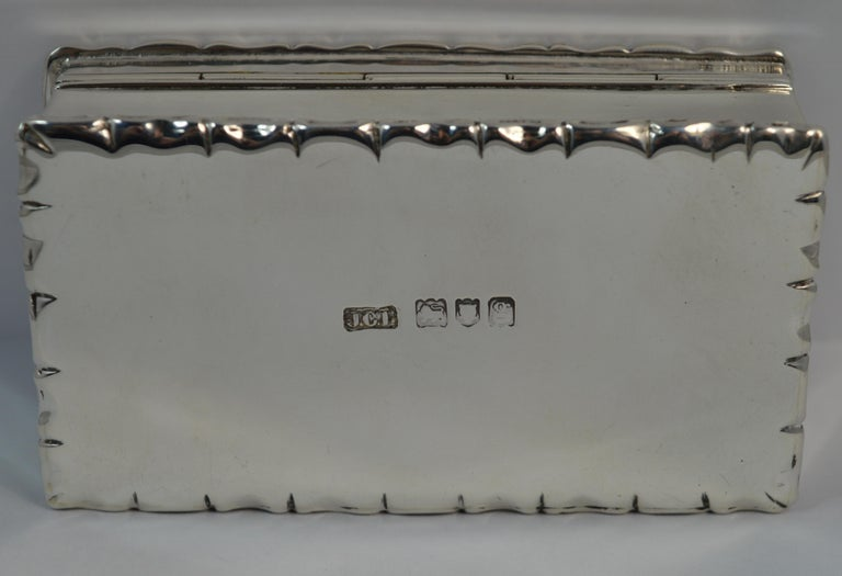 1902 Edwardian English Silver Snuff Box with Hunting Scene For Sale 4