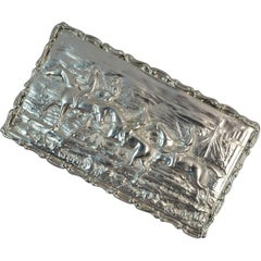 1902 Edwardian English Silver Snuff Box with Hunting Scene