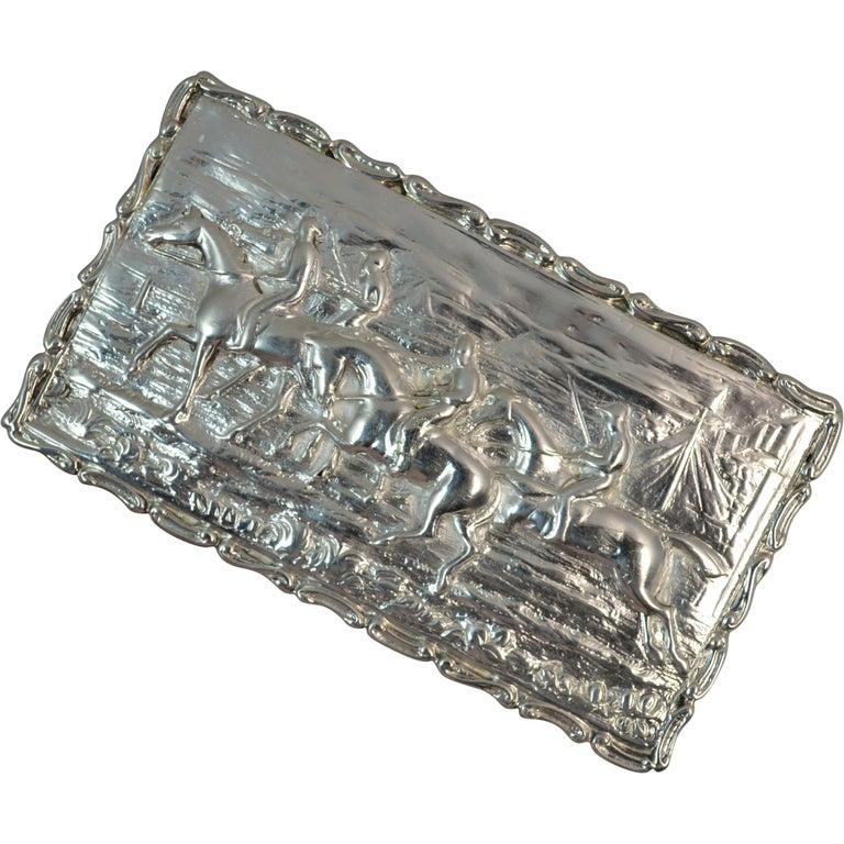 1902 Edwardian English Silver Snuff Box with Hunting Scene For Sale