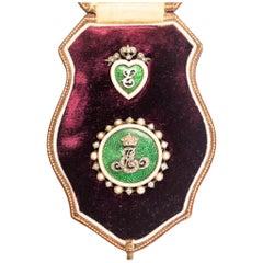 "1902 King Edward VII Guilloché Enamel Royal Coronation ""E"" Pendant Brooch Suite"