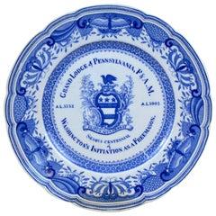 1902s Grand Lodge Pennsylvania F&AM Free Mason Plate Washington's Initiation