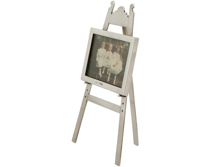 British 1903 Antique Edwardian Sterling Silver Photograph Frame For Sale