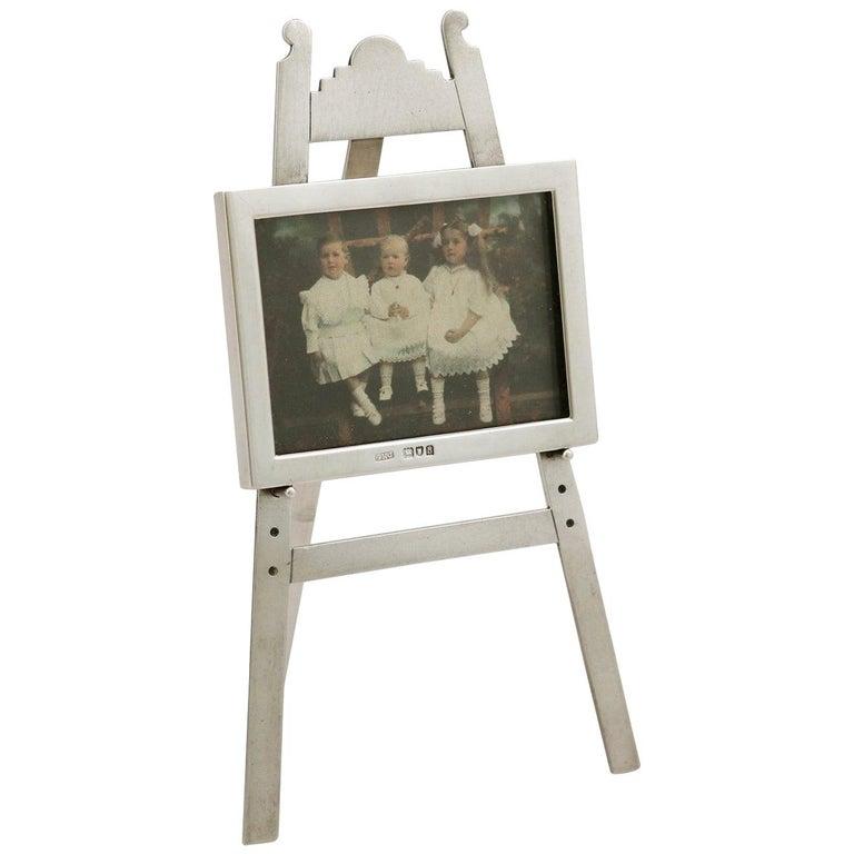 1903 Antique Edwardian Sterling Silver Photograph Frame For Sale