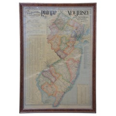 1903 Antique National Publishing Road Map of New Jersey Geological Survey