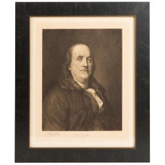 1903 Antique Portrait of Benjamin Franklin, Signed by Jacques Reich