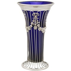 1904 Antique Edwardian Sterling Silver and Glass Vase