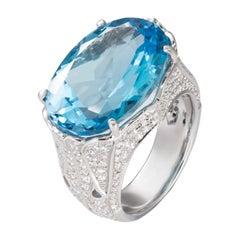 19.04 Carat Oval Blue Topaz Diamond 18 Karat White Gold Cocktail Ring