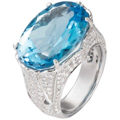 19.04 Carat Oval Blue Topaz Diamond 18 Karat White Gold Cocktail Ring