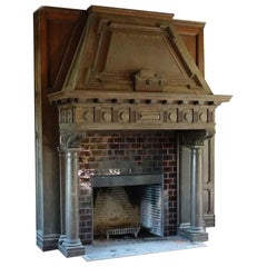 1904 Hand Carved Tudor Wood Mantel from The Rose Hill Mansion, Mount Kisco, NY