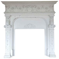 1904 Huge Carved White Limestone Mantel from Rose Hill Mansion Mt Kisco NY