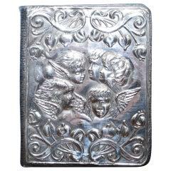 1904 Solid Sterling Silver W J Myatt Cherub Angles Leather Bound Address Book