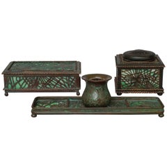 1905-1920 Green Slag Glass and Bronze Desk Set by Tiffany Studios New York
