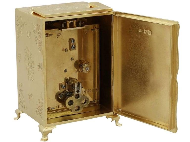 1905 Antique Edwardian Sterling Silver Mantel Clock For Sale 1