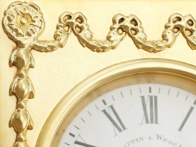 1905 Antique Edwardian Sterling Silver Mantel Clock For Sale 3