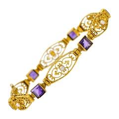 1905 Art Nouveau Amethyst Pearl 14 Karat Gold Link Bracelet