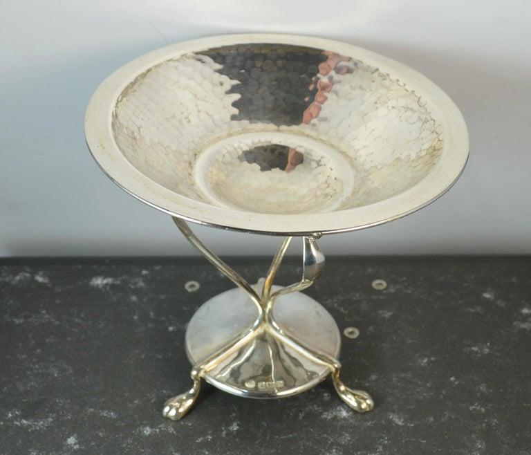 Art Nouveau 1905 Edwardian Arts & Crafts Hallmarked Sterling Silver Bowl Tazza Comport