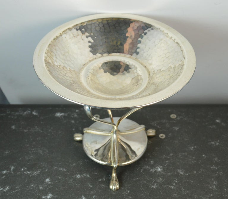 1905 Edwardian Arts & Crafts Hallmarked Sterling Silver Bowl Tazza Comport In Good Condition In St Helens, GB