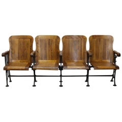 1905 Four Seat Folding Theater Chairs with Cast Iron Frame from Brooklyn