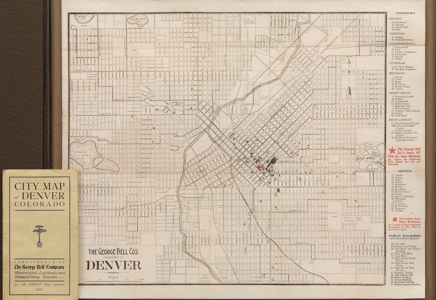 1905 The George Bell Co\'s. Guide Map of Denver For Sale at 1stdibs