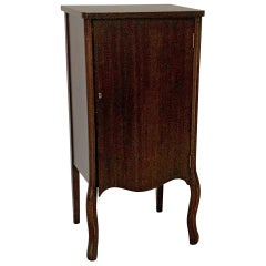 1905 Walnut Music Record Cabinet with Cabriolet Legs and 7 Shelves