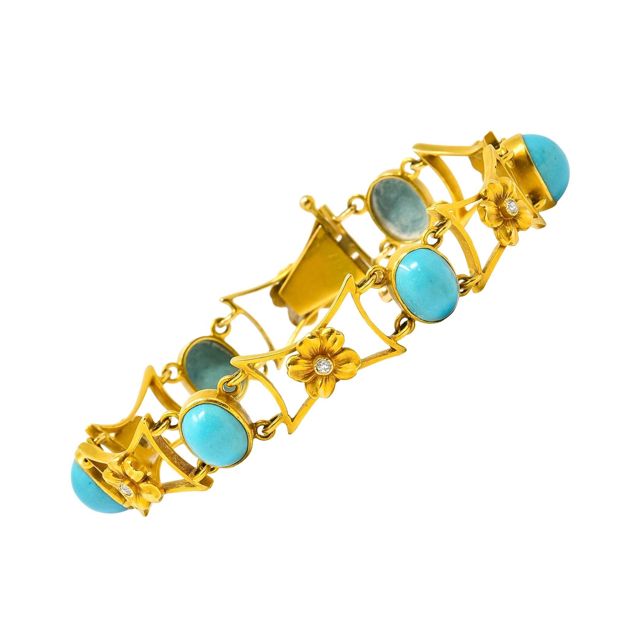 1905 Victorian Turquoise Diamond 14 Karat Gold Floral Link Bracelet