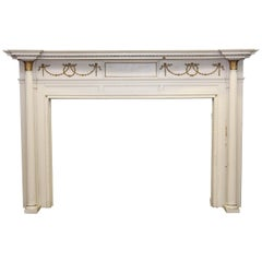 1905 White & Gold Wood Federal Style Mantel with Columns and Egg and Dart Design