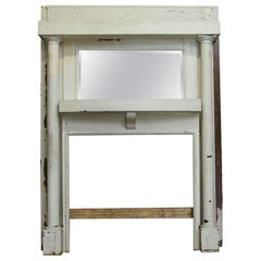 1905 White Painted Arts & Crafts Wood Mantel with over Mirror