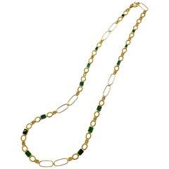 19.06 Carat Emerald Art Deco Mosaic Coomi Necklace
