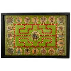 1906 Chromolithograph 'Lost Heir' Milton Bradley Children's Game Board, Framed