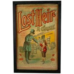 1906 Chromolithograph 'Lost Heir' Milton Bradley Children's Game Box Lid, Framed