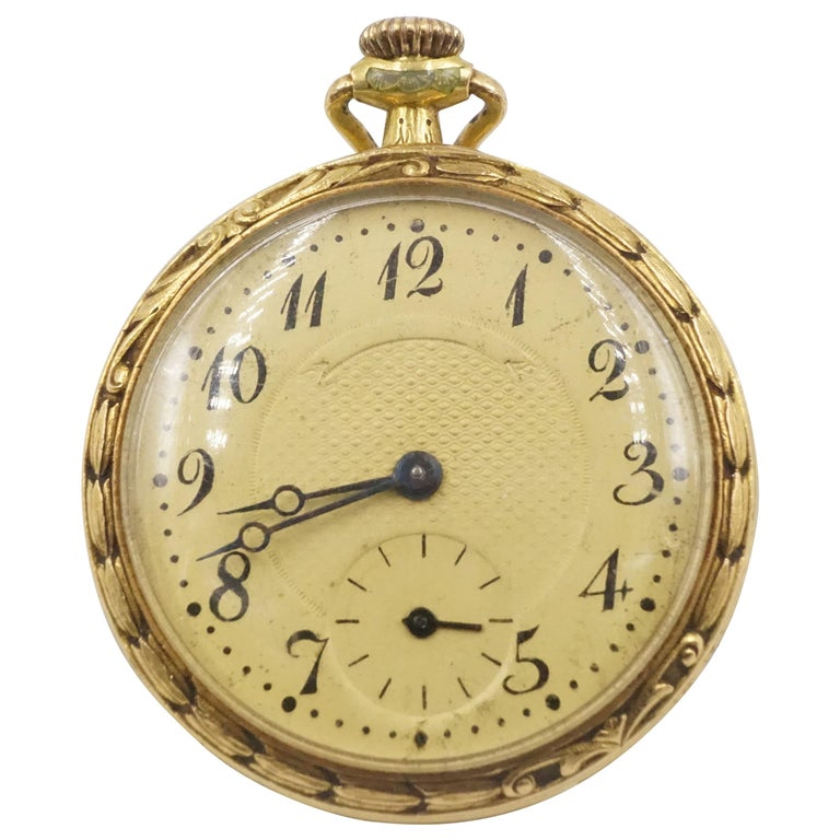 1906 Tiffany & Co. Diamond, Natural Ruby and Enamel 18 Carat Gold Pocket Watch For Sale