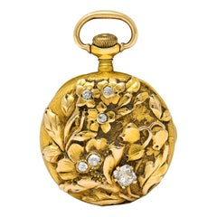 1906 Tiffany & Co. Nouveau Diamond 18 Karat Two-Tone Gold Antique Watch Pendant