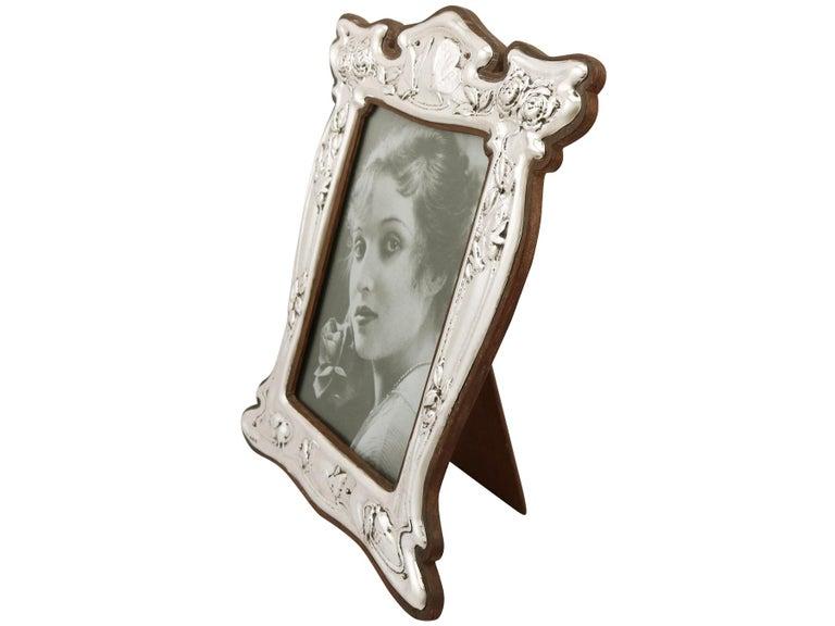 Art Nouveau 1907 Antique Edwardian Sterling Silver Photograph Frame For Sale
