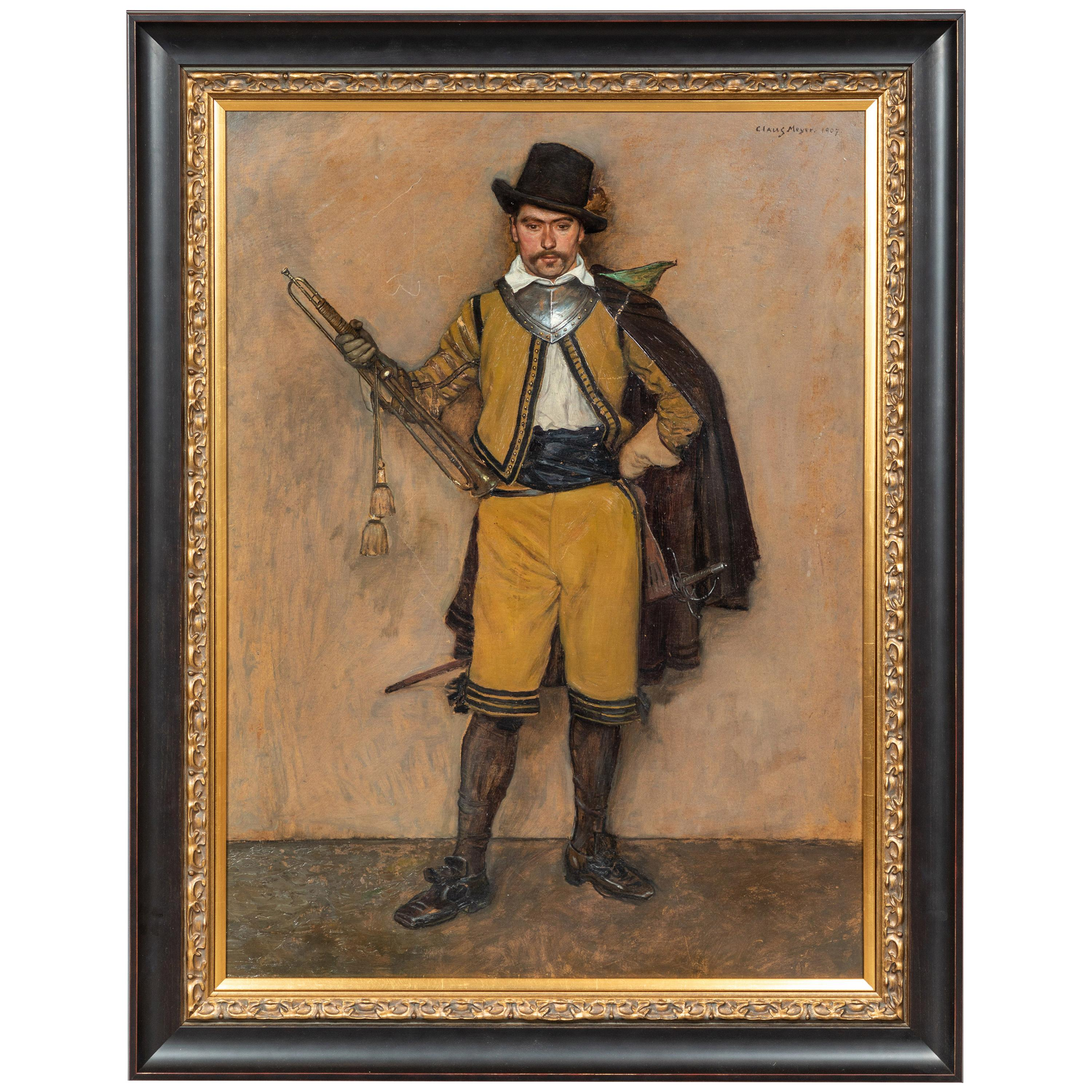 1907 Oil Painting of a Soldier