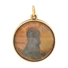 1908 Antique 14 Karat Gold Penny Charm