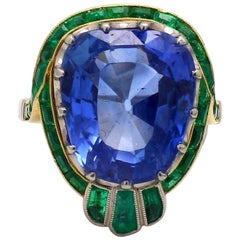 19.08 Carat Cushion Cut, No Heat, Ceylon Sapphire Ring, AGL Certified