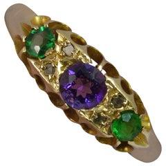 1908 Edwardischer Suffragette Amethyst Smaragd Diamant 18 Karat Gold Ring