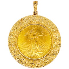 1908 Gold Coin-US Lady Liberty in Excellent Condition w 14k Gold Nugget Pendant