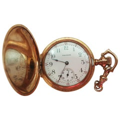 1908 Waltham Pocket Watch, Gold-Plated, 7 Jewel, Working